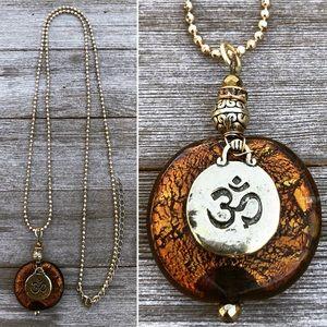Amber Om Necklace